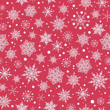 Vector pink red hand drawn christmass snowflakes repeat seamless pattern background. Can be used for fabric, wallpaper, stationery, packaging. Illustration