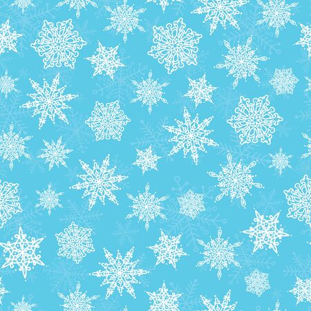 Vector blue white hand drawn christmass snowflakes repeat seamless pattern background. Can be used for fabric, wallpaper, stationery, packaging.