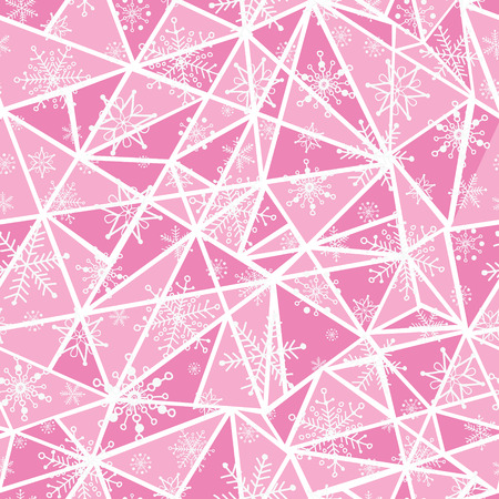 Vector abstract pink christmass snowflakes on triangles repeat seamless pattern background. Can be used for fabric, wallpaper, stationery, packaging.