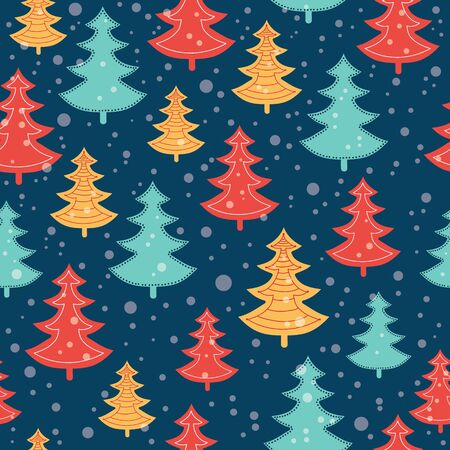 Vector blue, red, and yellow scattered christmas trees winter holiday seamless pattern on dark blue background. Great for fabric, wallpaper, packaging, giftwrap. Illustration