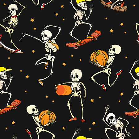 Vector dancing and skateboarding skeletons Haloween repeat pattern background. Great for spooky fun party themed fabric, gifts, giftwrap.