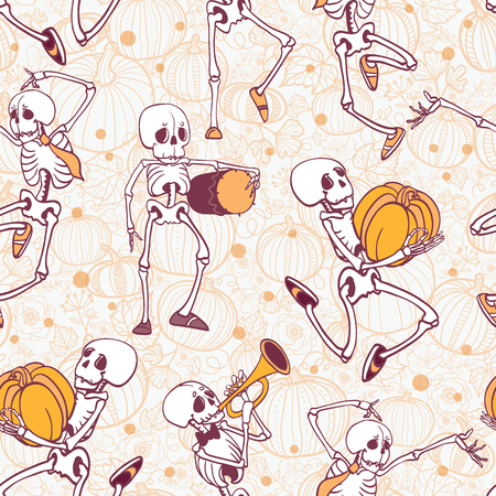 Vector dancing and musical skeletons Haloween repeat pattern background. Great for spooky fun party themed fabric, gifts, giftwrap.