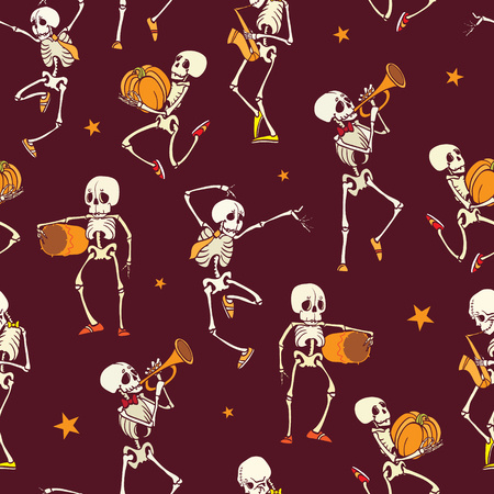 Vector dark red dancing and plating music skeletons band Haloween repeat pattern background. Great for spooky fun party themed fabric, gifts, giftwrap.