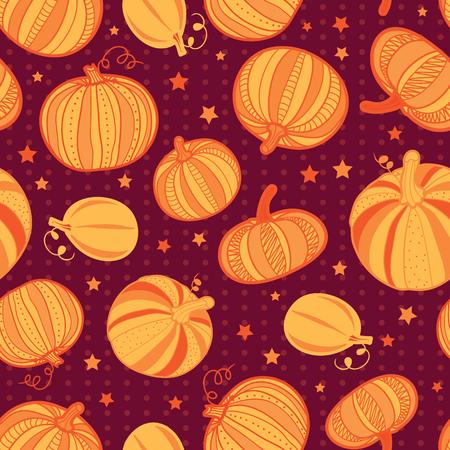 Vector orange dark red pumpkins polka dots seamless repeat pattern background.