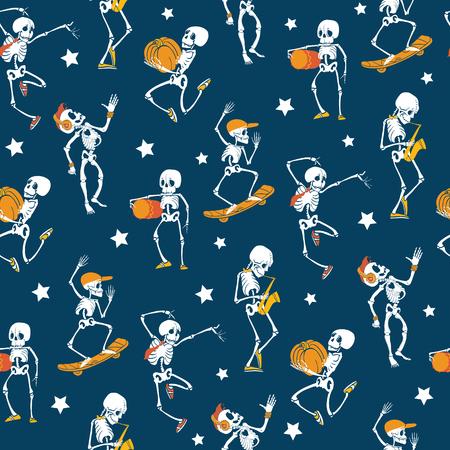 Vector blue, white, orange dancing and skateboarding skeletons Haloween repeat pattern background.
