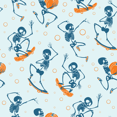 Vector blue and orange dancing and skateboarding skeletons Haloween repeat pattern background.