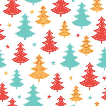 Vector green, yellow, red scattered christmas trees winter holiday seamless pattern. Illustration