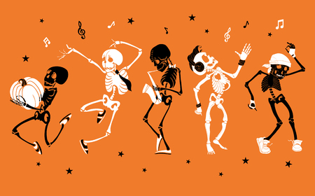 Dancing and musical skeletons - Halloween set collection. Stock Illustratie