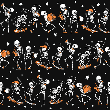 Dancing and skateboarding skeletons