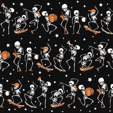 Dancing and skateboarding skeletons