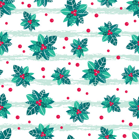 Vector holly berry grunge stripes holiday seamless pattern background. Great for winter themed packaging, giftwrap, gifts projects.