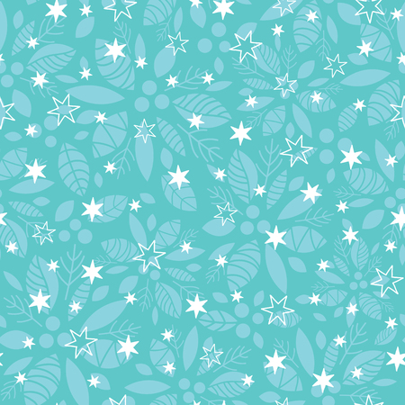 Vector holly berry and stars blue holiday seamless pattern background. Great for winter themed packaging, giftwrap, gifts projects. Illustration