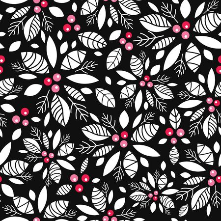 Vector holly berry black, white, red holiday seamless pattern background. Great for winter themed packaging, giftwrap, gifts projects. Illustration