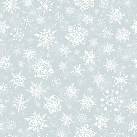 Vector silver grey hand drawn christmass snowflakes repeat seamless pattern background. Can be used for fabric, wallpaper, stationery, packaging.