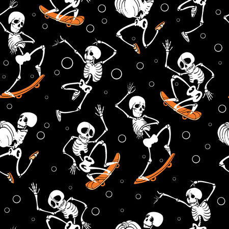 Vector black skateboarding, jumping skeletons Haloween repeat pattern background. Great for spooky fun party themed fabric, gifts, giftwrap. Illustration