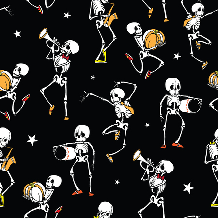 Vector dark black dancing and plating music skeletons band Haloween repeat pattern background. Great for spooky fun party themed fabric, gifts, giftwrap.