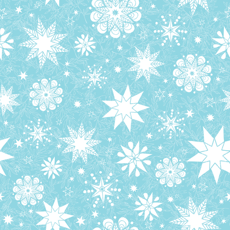 Vector light blue hand drawn christmass snowflakes stars repeat seamless pattern background. Can be used for fabric, wallpaper, stationery, packaging.