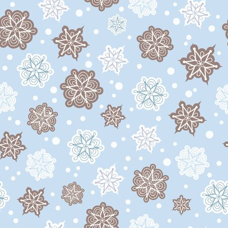 Vector grey and light blue hand drawn christmass snowflakes repeat seamless pattern background. Can be used for fabric, wallpaper, stationery, packaging.