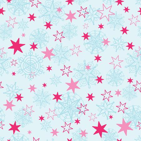 ベクトルの淡いブルーおよびピンク手の描かれた人工雪星繰り返しパターンのシームレスな背景。ファブリック、壁紙、文具、包装に使用できます
