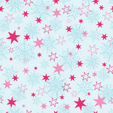 Vector light blue and pink hand drawn christmass snowflakes stars repeat seamless pattern background. Can be used for fabric, wallpaper, stationery, packaging.