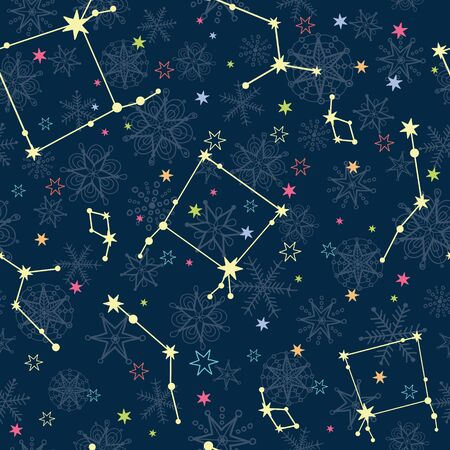 Vector dark blue and yellow stars constellations with hand drawn christmass snowflakes repeat seamless pattern background. Can be used for holiday fabric, wallpaper, stationery, packaging. Illustration