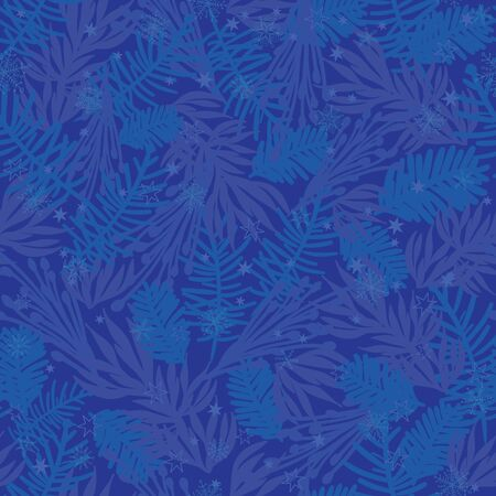 Vector dark blue frost pine branches seamless pattern background. Great for winter holiday fabric, packaging, giftwrap projects.