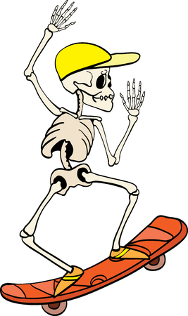 Vector skeleton riding a skateboard Haloween design element illustration. Great for spooky fun party themed gifts, giftwrap. packaging.