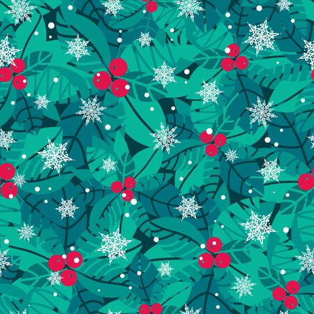 Vector blue, red, white holly berries and snowflakes holiday seamless pattern background. Great for winter themed packaging, giftwrap, gifts projects. Surface pattern print design.