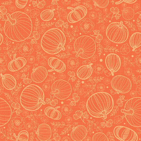 Vector orange pumpkins texture seamless repeat pattern background. Great for fall themed designs, invitation, fabric, packaging projects. Surface pattern design.