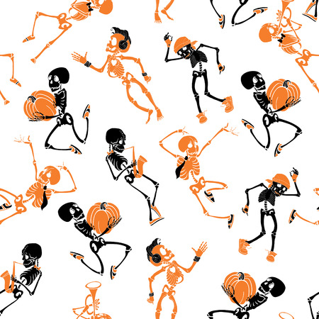 Vector dark black, orange dancing and plating music skeletons band Haloween repeat pattern background. Great for spooky fun party themed fabric, gifts, giftwrap. Textile pattern design.