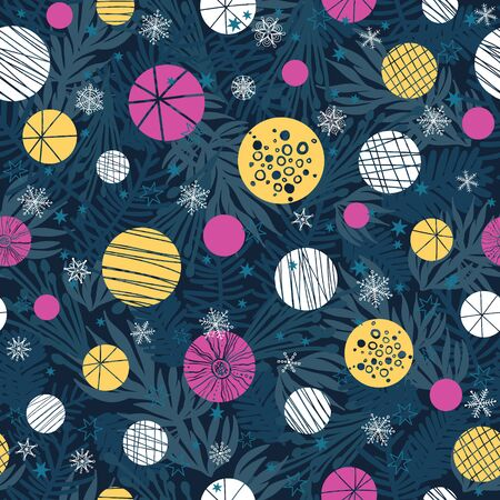 Vector winter holiday dark blue, pink, yellow abstract ornaments and stars seamless repeat pattern background. Great for holiday fabric, packaging, wallpaper, gift wrap projects. Surface pattern design.