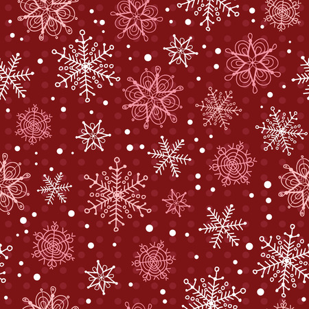 Vector deep red hand drawn christmass snowflakes repeat seamless pattern background. Can be used for fabric, wallpaper, stationery, packaging. Surface pattern design.