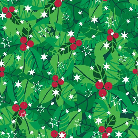 Vector green, red, white holly berries and snowflakes holiday seamless pattern background. Great for winter themed packaging, giftwrap, gifts projects. Surface pattern print design.