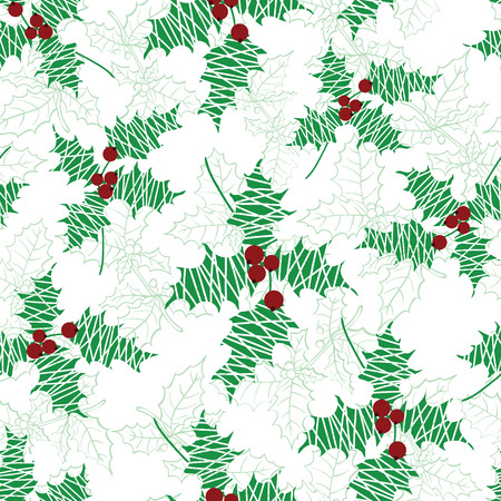 Vector holly berry green, red textured holiday seamless pattern background. Great for winter themed packaging, giftwrap, gifts projects. Surface pattern print design.