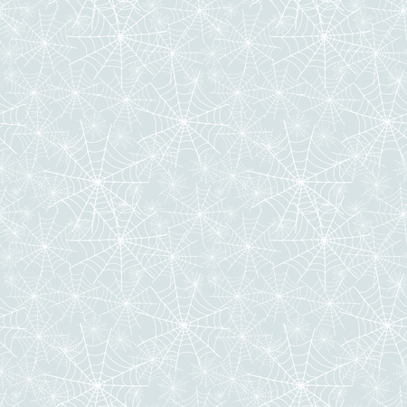 Vector silver grey spiderweb Halloween seamless repeat pattern background. Great for spooky fabric, wallpaper, giftwrap, packaging projects. Textile design.
