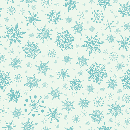 Mint green hand drawn christmas snowflakes seamless pattern background. Illustration