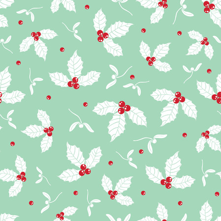 Vector mint green holly berry holiday seamless pattern background. Great for winter themed packaging, giftwrap, gifts projects. Surface pattern print design.
