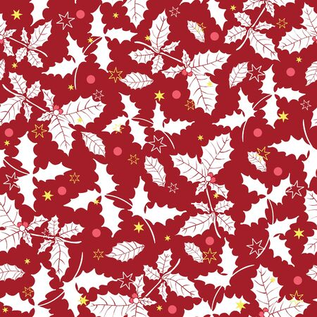 Dark red holly berry holiday pattern.
