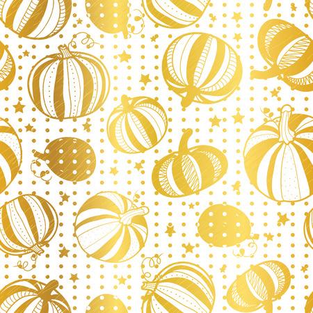 Vector golden white pumpkins polka dots seamless repeat pattern background. Illustration