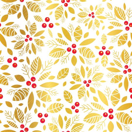 Vector golden red holly berry holiday seamless pattern background. Great for winter themed packaging, giftwrap, gifts projects. Surface pattern print design. Illustration