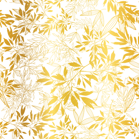 Vector Golden Leaves and Branches Seamless Pattern Background.