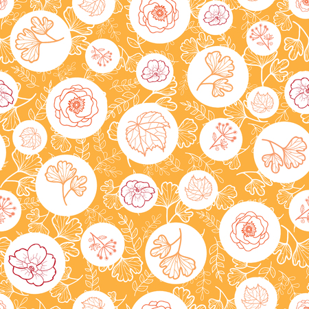 Vector orange, white seamless pattern with fall flowers. Background for fabric or book covers, manufacturing, wallpapers, print, gift wrap, scrapbooking. Surface pattern design. Illustration