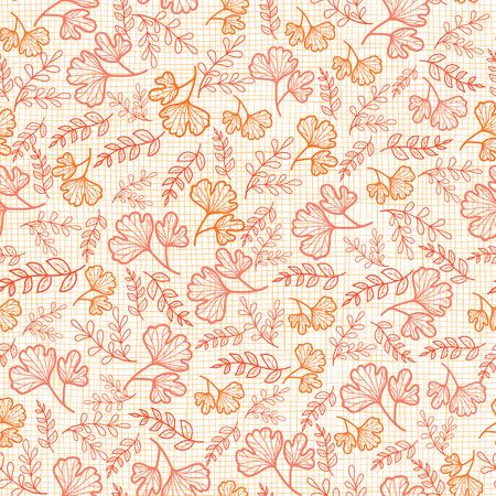 Vector naadloos patroon met herfstbladeren op linnentextuur. Achtergrond voor stof- of boekomslagen, productie, achtergronden, afdrukken, cadeaupapier, scrapbooking. Ontwerp van het oppervlaktepatroon.