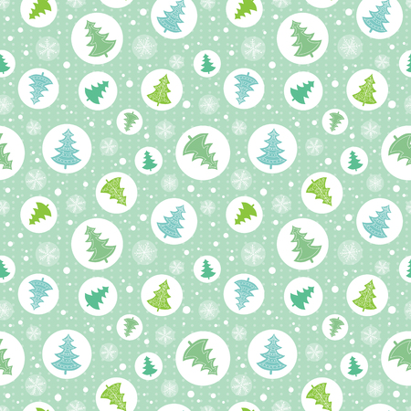 Vector circles with green, blue christmas trees in circles ornamemtns holiday seamless pattern. Great for fabric, wallpaper, packaging, giftwrap. Surface pattern design.