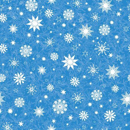 De vector sterren van de koninklijk blauwe hand getrokken christmass sneeuwvlokken herhalen naadloze patroonachtergrond. Kan worden gebruikt voor stof, behang, briefpapier, verpakking.