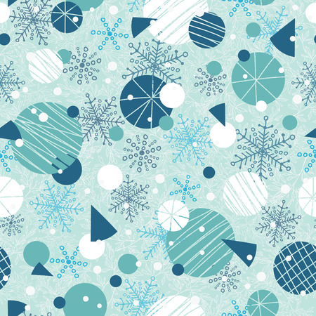 Vector winter holiday blue, white abstract ornaments and stars seamless repeat pattern background. Great for holiday fabric, packaging, wallpaper, gift wrap projects.