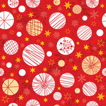 Vector winter holiday red, white, yellow abstract ornaments and stars seamless repeat pattern background. Great for holiday fabric, packaging, wallpaper, gift wrap projects.