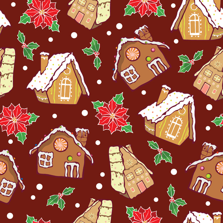 A Vector gingerbread houses and poinsettia flowers Christmas seamless pattern background. Perfect for winter holiday fabric, gift wrap, scrap booking, greeting cards design projects.