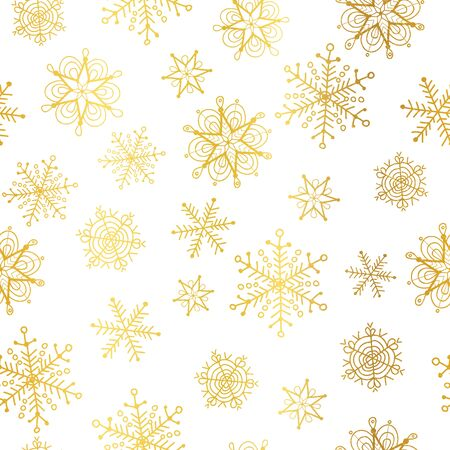 A Vector golden and white snowflakes seamless repeat pattern background. Great for winter holiday fabric, gift wrap, packaging, covers, invitations.