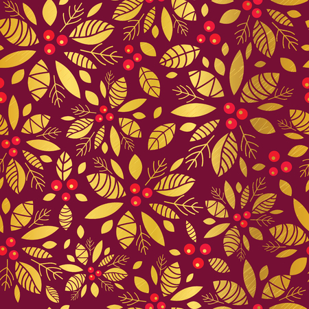 A Vector gold and red holly berry holiday seamless pattern background. Great for winter themed packaging, gift wrap, diy projects.